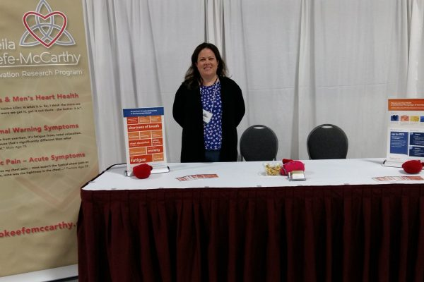 Allison at the table at the KW Knitters Fair 2018